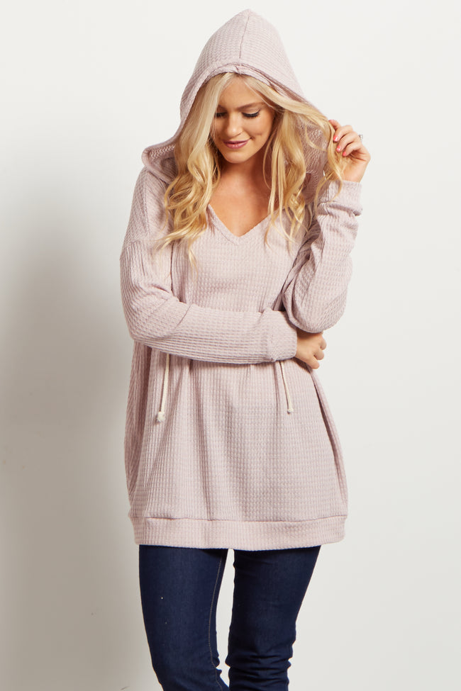 Lavender Long Sleeve Thermal Knit Hooded Top