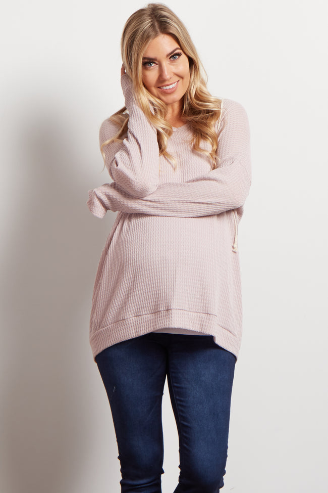 Lavender Thermal Knit Hooded Maternity Top