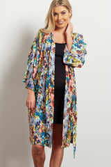Aqua Abstract Floral Delivery/Nursing Maternity Robe
