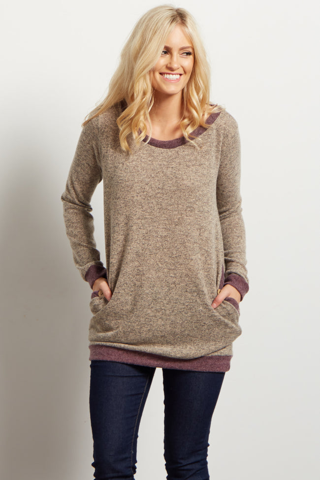Taupe Colorblock Button Accent Sweater