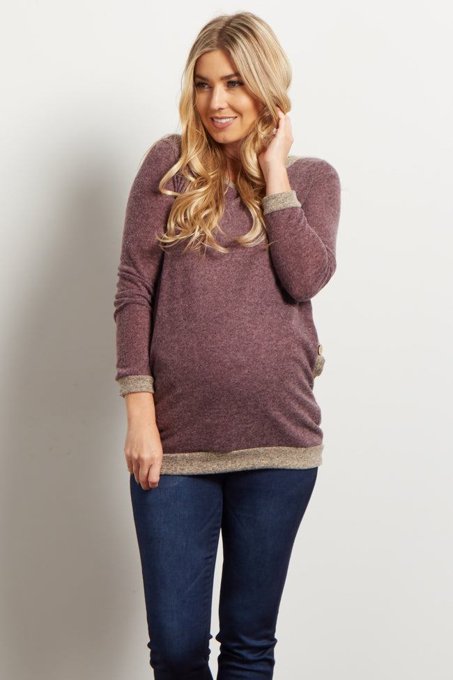 Purple Colorblock Button Accent Maternity Sweater