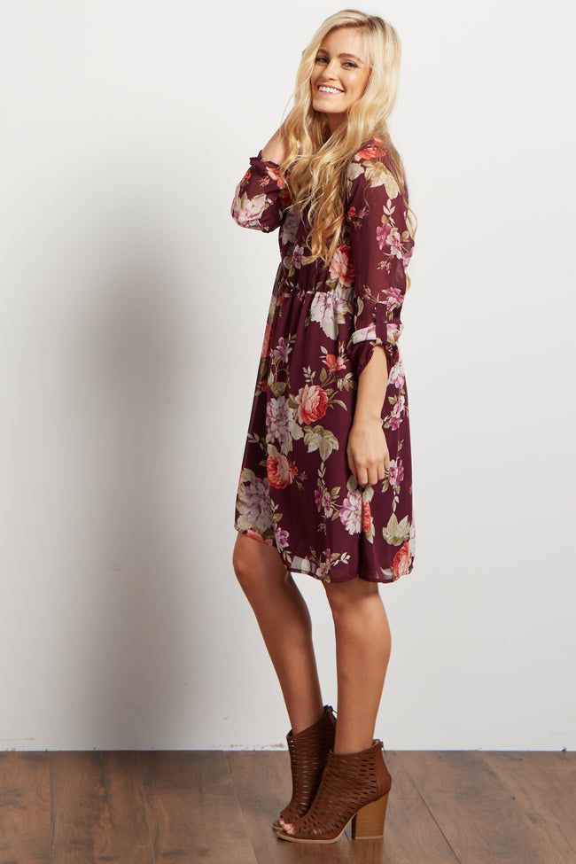 Burgundy Floral Chiffon 3/4 Sleeve Maternity Dress