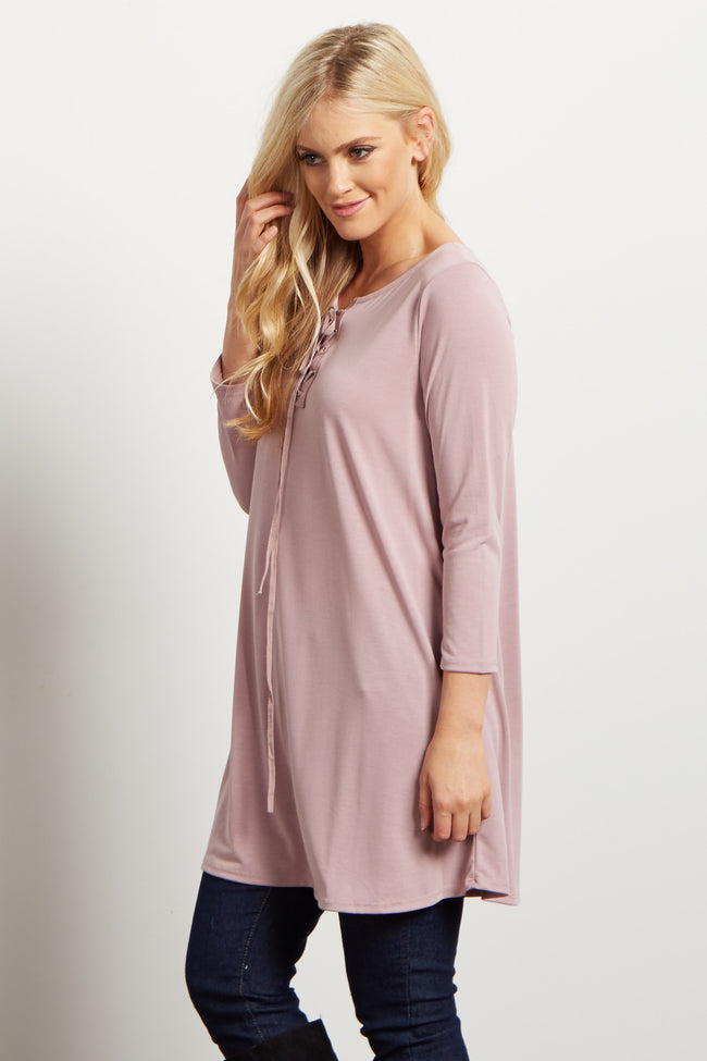 Mauve Solid Lace Up Tunic