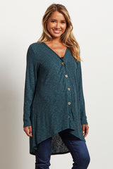 Teal Ribbed Button Down Knit Maternity Cardigan