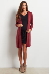 Burgundy Sequin Elbow Long Knit Maternity Cardigan