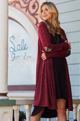 Burgundy Heathered Sequin Elbow Patch Cardigan