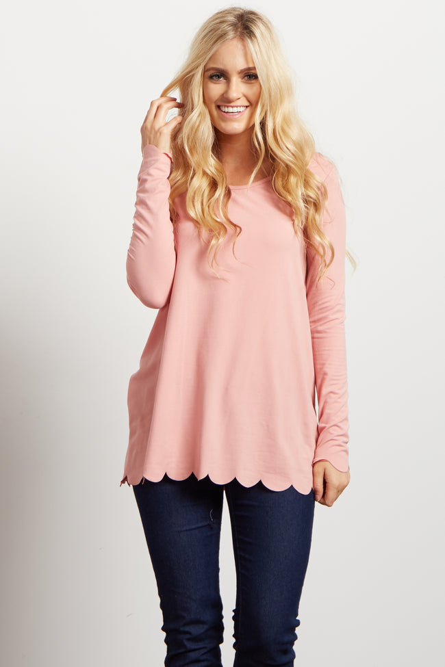 Pink Scalloped Trim Accent Long Sleeve Top