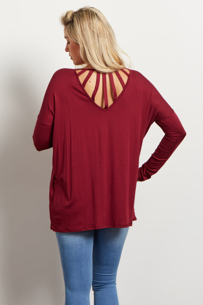 Burgundy Cutout Accent Dolman Maternity Top