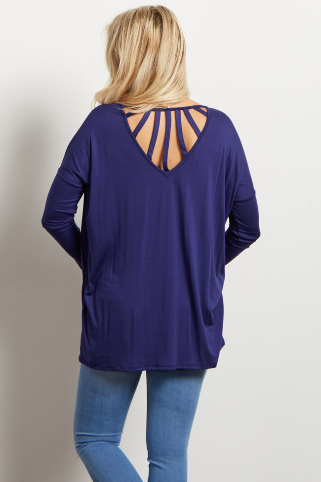 Navy Cutout Accent Dolman Maternity Top