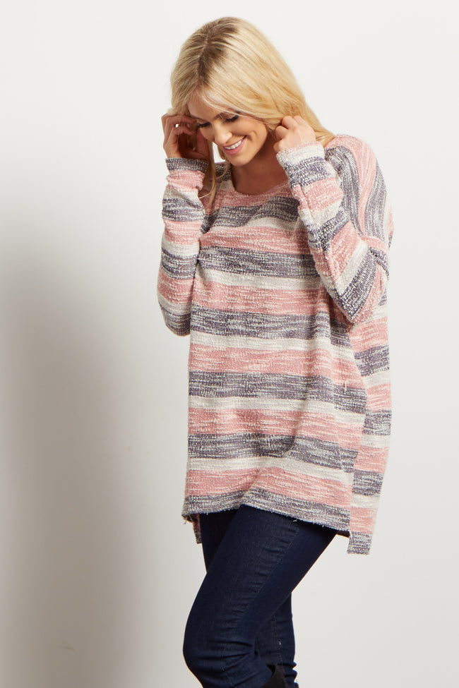 Pink Striped Textured Knit Top