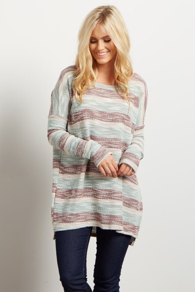 Mint Striped Textured Knit Maternity Top