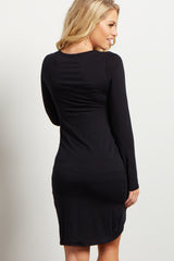PinkBlush Black Long Sleeve Side Ruched Maternity Dress