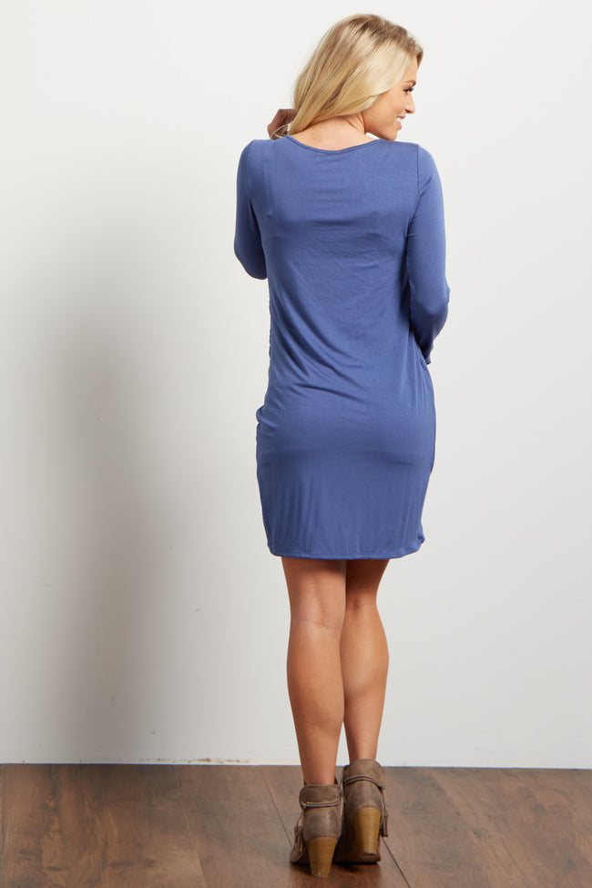 Blue Long Sleeve Side Ruched Maternity Dress