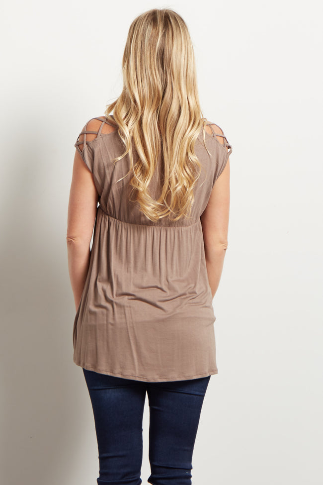 Taupe Woven Shoulder V Neck Maternity Top