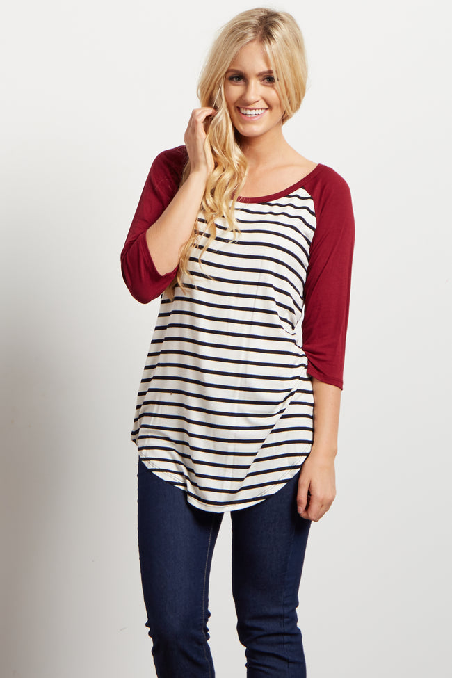 Burgundy Striped Colorblock Sleeve Maternity Top