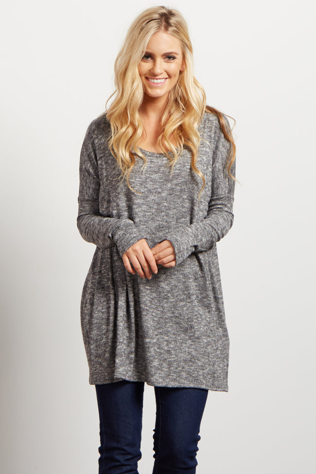 Charcoal Heathered Soft Knit Dolman Maternity Sweater
