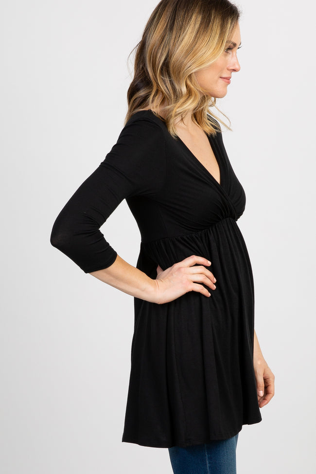 PinkBlush Black Draped Front Maternity/Nursing Top