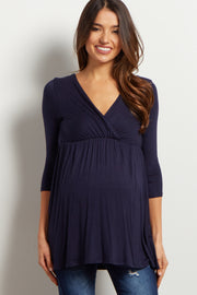 PinkBlush Navy Draped Front 3/4 Sleeve Maternity/Nursing Top