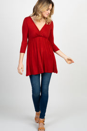 Rust Draped Front 3/4 Sleeve Nursing Top