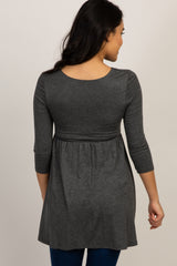 Charcoal Draped Front 3/4 Sleeve Maternity/Nursing Top