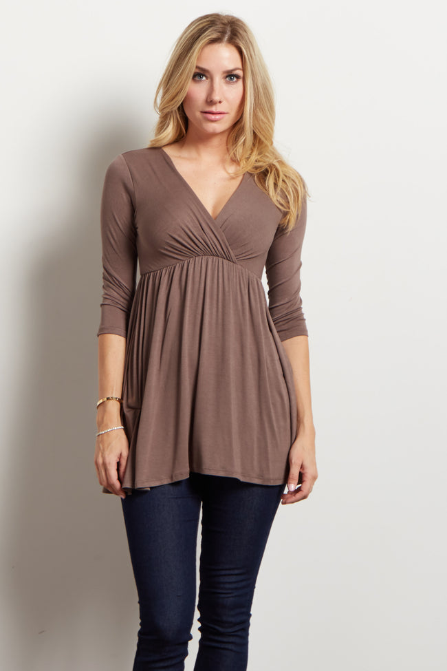 Brown Draped Front 3/4 Sleeve Maternity/Nursing Top