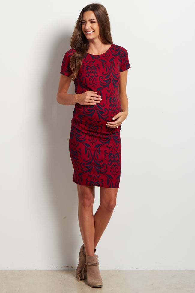 Burgundy Damask Fitted Maternity Dress