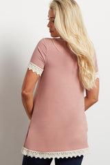 Mauve Solid Crochet Trim Short Sleeve Maternity Top