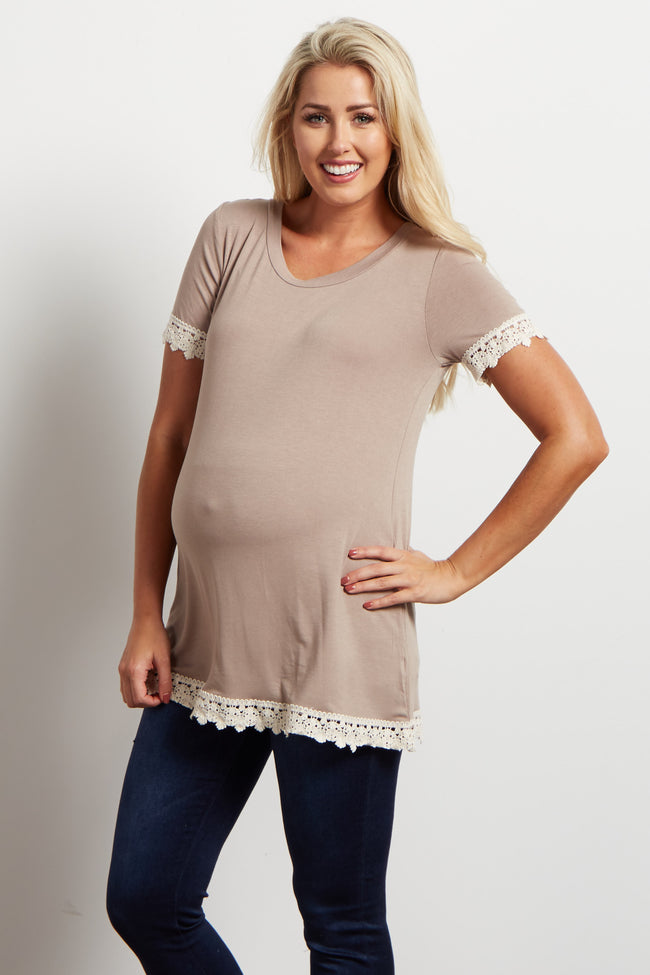 Taupe Solid Crochet Trim Short Sleeve Maternity Top