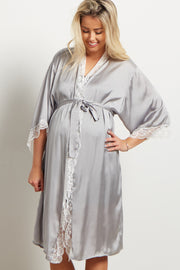 Grey Satin Lace Trim Delivery/Nursing Maternity Robe