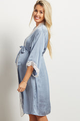 Blue Satin Lace Trim Delivery/Nursing Maternity Robe