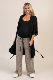 Taupe Animal Print Maternity Pajama/Lounge Pants