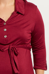 Burgundy Solid Button Sash Tie Maternity Plus Dress