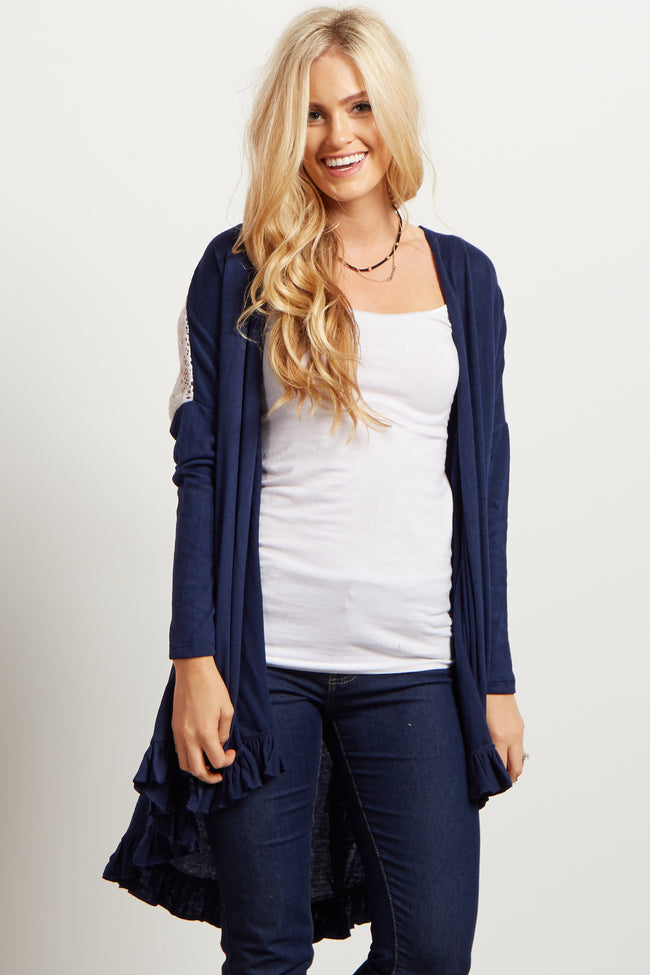 Navy Blue Open Front Soft Knit Crochet Ruffle Accent Cardigan