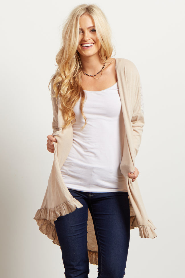 Taupe Soft Knit Crochet Ruffle Accent Maternity Cardigan