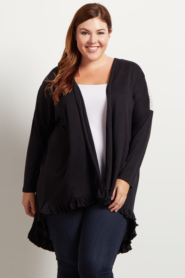 Black Open Front Soft Knit Crochet Ruffle Accent Plus Cardigan
