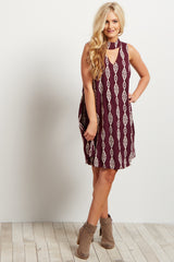 Burgundy Tribal Cutout Mock Neck Sleeveless Dress