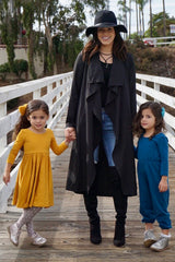 Black Solid Draped Coat
