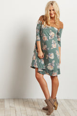 Green Floral Print Suede Accent Dress