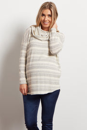 Black Striped Cowl Neck Ribbed Maternity Sweater