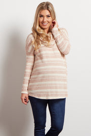 Rust Striped Cowl Neck Ribbed Maternity Sweater