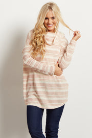 Rust Striped Cowl Neck Ribbed Sweater