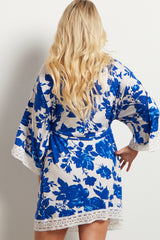 Blue Floral Crochet Trim Delivery/Nursing Maternity Robe