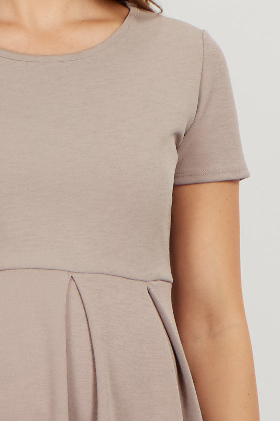 Taupe Basic Pleated Skirt Maternity Dress