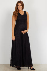 Black Lace V Neck Maternity Evening Dress