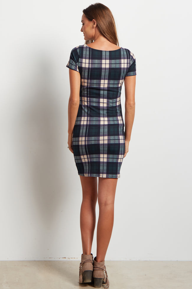 Green Plaid Print Fitted Maternity Dress