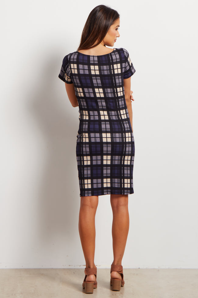 Blue Plaid Fitted Maternity Dress
