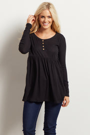Black Button Front Babydoll Top