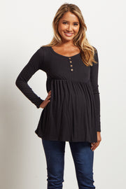 Black Button Front Babydoll Maternity Top