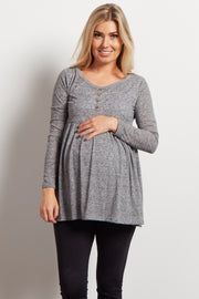 Charcoal Button Front Babydoll Maternity Top