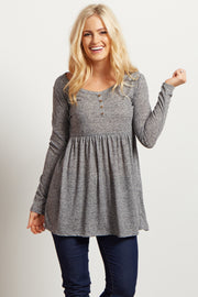 Charcoal Button Front Babydoll Top